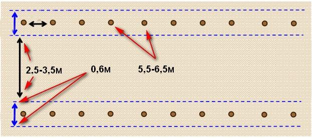 Ширина ряду 0,6 м